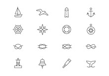 Nautical Thin Line Vector Icon...