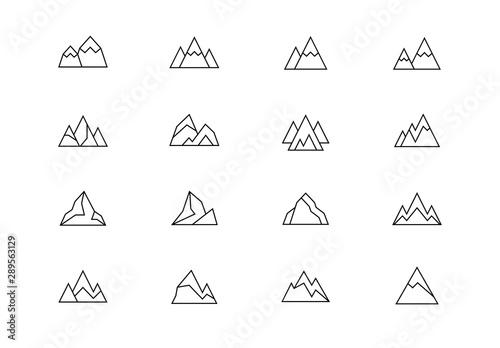 Fototapeta Mountains thin line vector icons. Editable stroke obraz