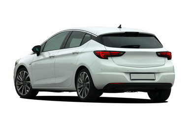 white car on white background, back view