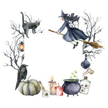 Watercolor Halloween Card With Witch And Crow. Hand Painted Holiday Template With Pumpkins, Tree, Cat, Lantern And Poison Isolated On White Background. Illustration For Design, Print Or Background.