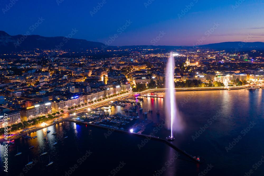Fototapety, obrazy: Aerial  night view of Geneva city water fountain in Switzerland