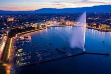 Aerial  Night View Of Geneva C...