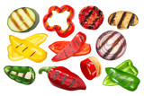 Fototapeta Kawa - Grilled vegetables, sliced and whole, isolated, a set of