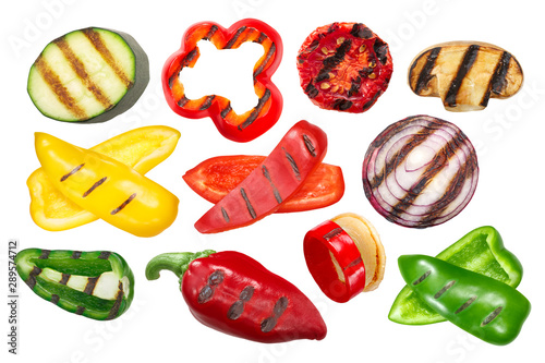 Fototapeta Grilled vegetables, sliced and whole, isolated, a set of obraz
