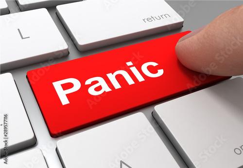 Fotografía panic push button concept 3d illustration