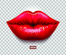 Red Sexy Female Lips Isolated On A Transparent Background, An Air Kiss, Beautiful Lips, Beauty, Red Lipstick, Cosmetics. 3D Effect. VectorEPS10