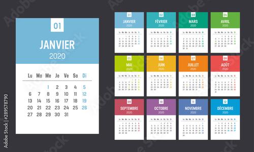 Calendrier Agenda 2020 couleur. Une page par mois. Canvas Print