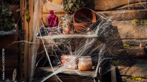 Photo  Decor of the Baba Yaga's house from a Russian fairy tale