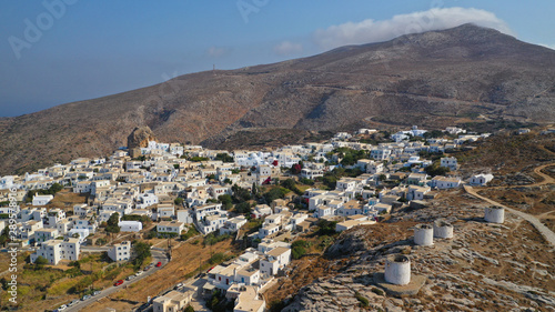 Aerial drone panoramic photo of picturesque main village or chora and castle of Canvas Print