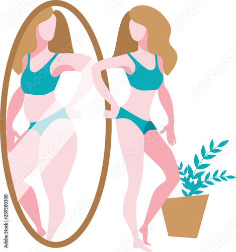 Photo A slender girl stands in front of a mirror and sees a thick reflection of herself