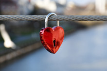 A Red Padlock In A Heart Form ...