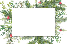 Watercolor Christmas Tree, Holly And Mistletoe Border. Hand Painted Vintage Frame With Branches, Berries And Leaves Isolated On White Background. Traditional Evergreen Frame