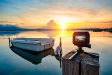 Action Camera On Mini Tripod O...