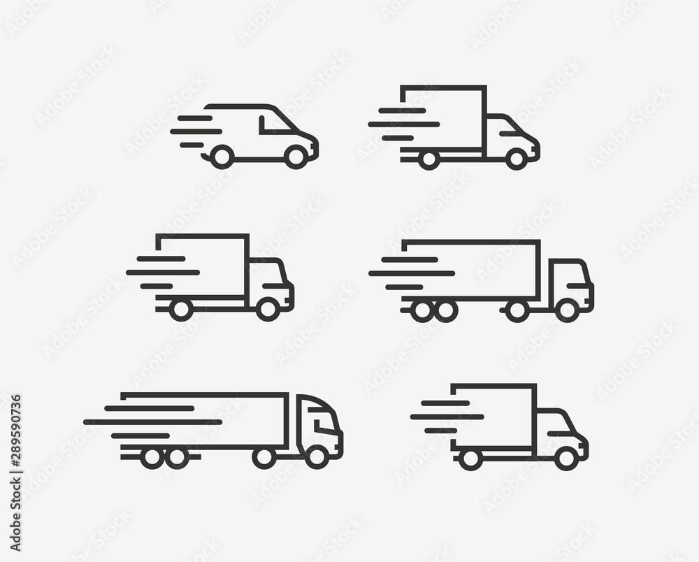 Fototapeta Truck icon set. Freight, delivery symbol. Vector illustration