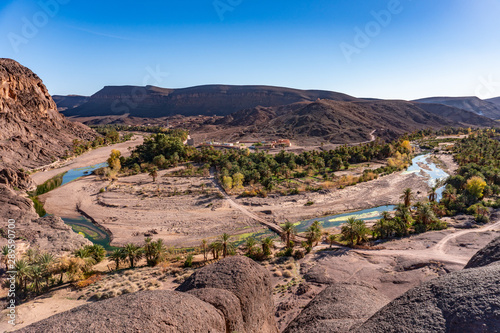 Obraz na płótnie Beautiful Desert oasis landscape Panorama in Oasis De Fint near Ourzazate in Mor