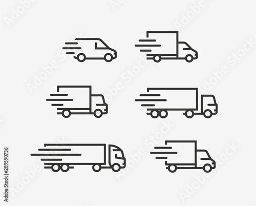 Cuadros en Lienzo Truck icon set. Freight, delivery symbol. Vector illustration