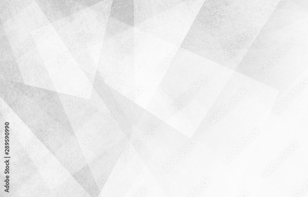 Fototapeta abstract white background design, geometric lines angles shapes in white and gray layers of transparent material