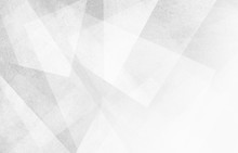 Abstract White Background Design, Geometric Lines Angles Shapes In White And Gray Layers Of Transparent Material