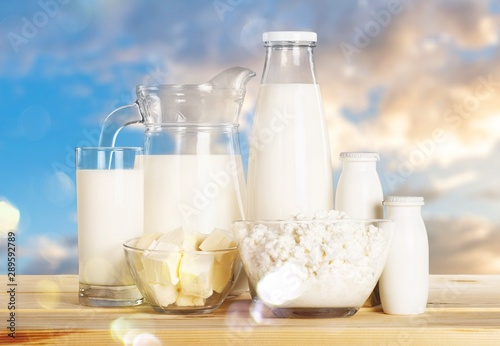Poster Dairy products Glass of milk and Dairy products on