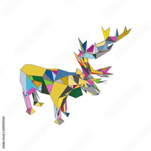 Foto auf AluDibond Boho-Stil mosaics a Caribou. abstract a Caribou. pop art a Caribou. lowpoly a Caribou.