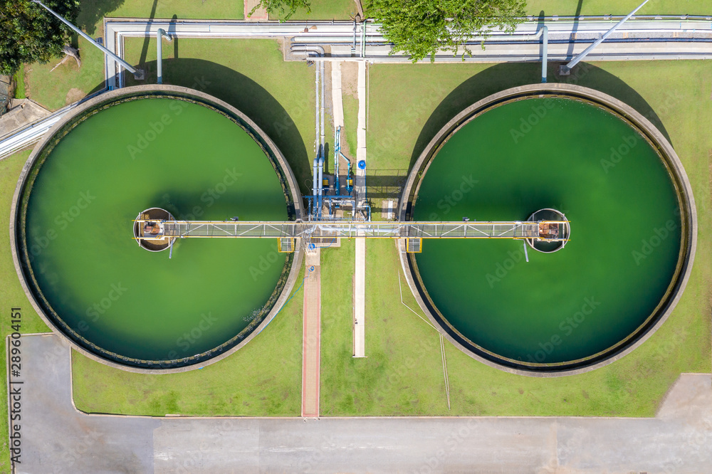 Fototapeta Aerial view of The Solid Contact Clarifier Tank type Sludge Recirculation in Water Treatment plant in factory.