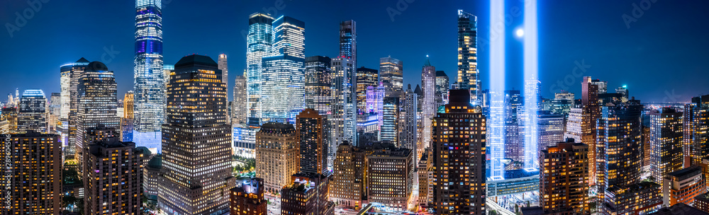 Fototapety, obrazy: Drone view panorama of downtown New York City skyscrapers on September 11.