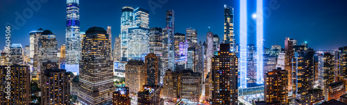 Obraz Drone view panorama of downtown New York City skyscrapers on September 11. - fototapety do salonu