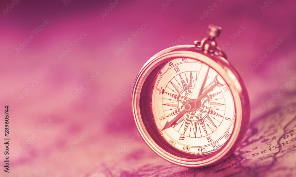 Fototapety, obrazy: Brass antique compass  on background