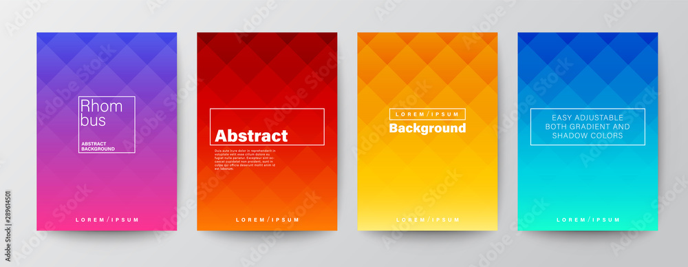 Fototapeta Set of rhombus pattern on colorful gradient background. Abstract design template for Brochure, Flyer, Poster, leaflet, Annual report, Book cover, A4 size