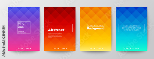 Obraz Set of rhombus pattern on colorful gradient background. Abstract design template for Brochure, Flyer, Poster, leaflet, Annual report, Book cover, A4 size - fototapety do salonu
