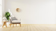 Leinwanddruck Bild - Interior poster mock up living room with colorful white sofa . 3D rendering.