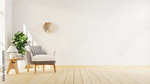 Photographie  Interior poster mock up living room with colorful white sofa