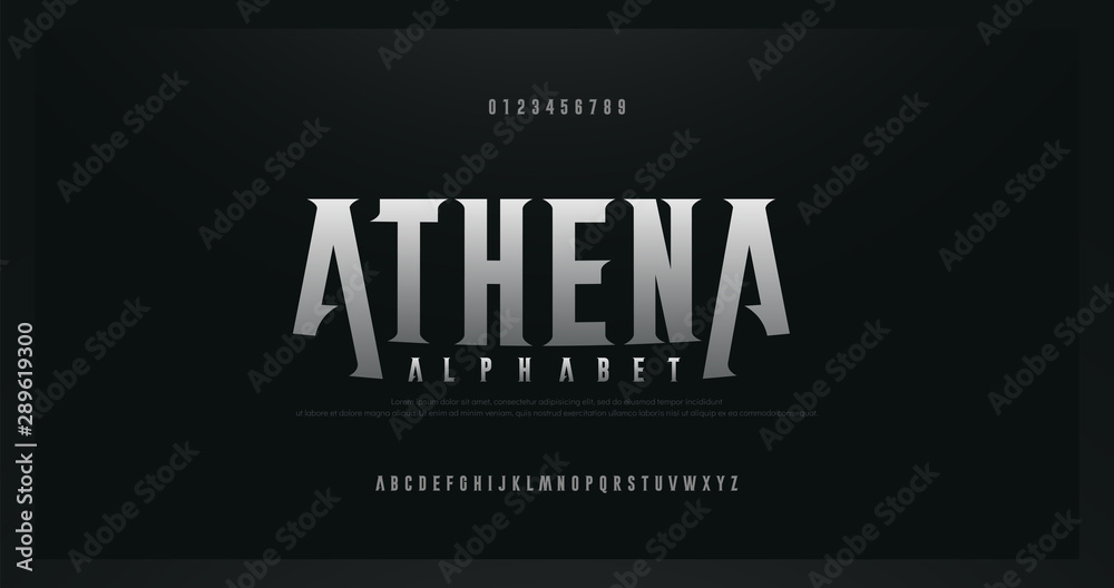 Fototapeta Rock serif modern alphabet fonts. Typography for rock, music, game, future, creative, abstract design font and number. vector illustraion