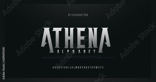 Fototapeta Rock serif modern alphabet fonts. Typography for rock, music, game, future, creative, abstract design font and number. vector illustraion obraz