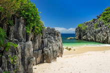 Limestone Rock Formation On Lahus Island Beach In The Municipality Of Caramoan, Camarines Sur Province, Luzon In The Philippines, Region For Survivor TV Shows Filming.