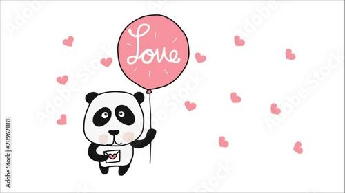 Fotografie, Obraz  Panda with love balloon cartoon doodle style