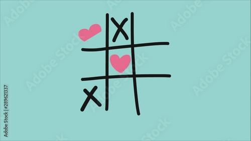Obraz na plátně  Heart xo tic-tac-toe game pastel tone