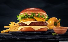 Burger With Black Background