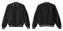 Set Of Blank Jacket Bomber Black With White Stripe Color In Front And Back View Isolated On White Background. Plain Jacket, Parachute Jacket.