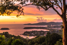 The Sunset Landscape Of Patong Beach, Karon Beach, Kata Beach At Phuket Thailand