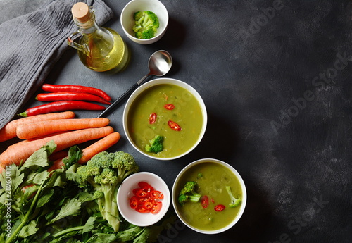 Healthy Vegan Creamy blended vegetable Soup puree with broccoli, celery, peas and carrots Canvas Print