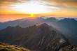 Sunrise over the mountains. Fagaras Mountains, Romania