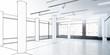 Leinwanddruck Bild - Büro- & Gewerbefläche, leer (Entwurf) - 3d Illustration