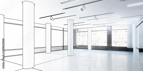 Fotografía  Büro- & Gewerbefläche, leer (Entwurf) - 3d Illustration