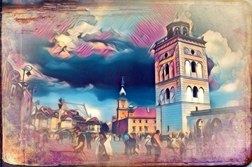 Warsaw cityscape exterior art painting illustration