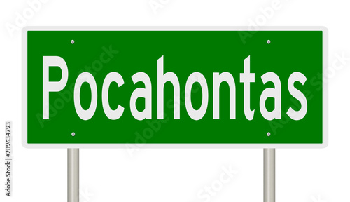 A 3d rendering of a green road sign for Pocahontas Arkansas Canvas Print