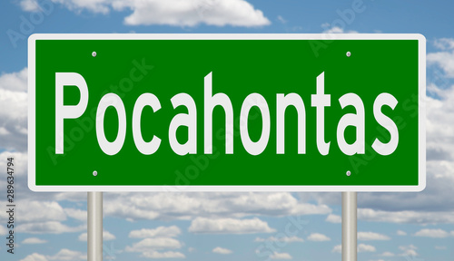 Photo  A 3d rendering of a green road sign for Pocahontas Arkansas