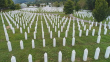 SREBRENICA, Potocari, Bosnia And Herzegovina Flying Above The Graves Of Murdered Men And Young Boys Civilians Wictims From Serbian Aggression And Genocide In Potocari, On September 4,