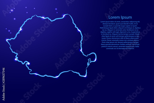 Fotografie, Obraz Romania map from the contour blue brush lines different thickness and glowing stars on dark background