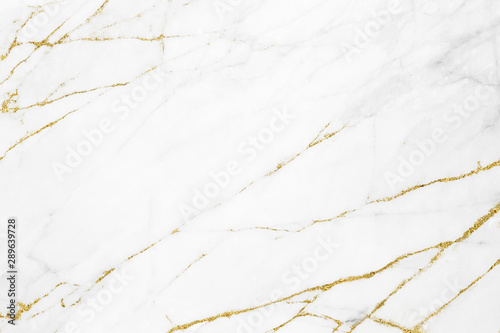 Stampa su Tela White gold marble texture pattern background with high resolution design for cov